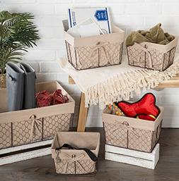 DII Vintage Chicken Wire Basket Removable Fabric Liner, Set