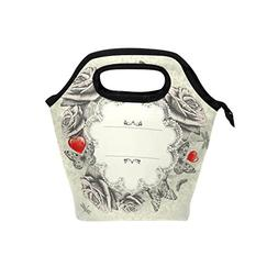 Vintage Roses Dragonfly Butterflies Lunch Tote Bags Thick In
