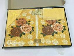 Vintage Towel Set Roses Yellow Gold Hand Towels & Washcloth