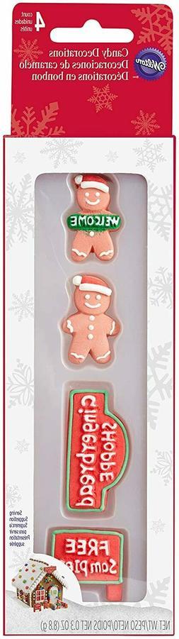 Wilton W5811 Candy Decorations 4/Pkg Signs & Gingerbread Boy