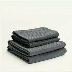 Bathen Waffle Towel Set in Charcoal, Causebox, 2 Bath Towels