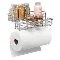 mDesign Wall Mounted Metal Paper Towel Roll Holder/Dispenser