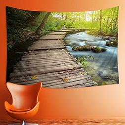 PRUNUS Wall Tapestries Boardwalk in the park Tapestry Table