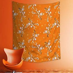 aolankaili Wall Tapestries Cherry Tree Flowers on Branches S