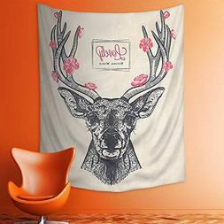 Wall Tapestries Collection Deer Head with Flowers Blooms Let