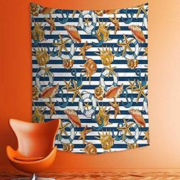 aolankaili Wall Tapestries Decor with Sea Animals Shells Sta