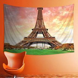 L-QN Wall Tapestries Decor Eiffel Tower Colorful Sky Grass N