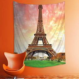 aolankaili Wall Tapestries Decor Eiffel Tower Colorful Sky G