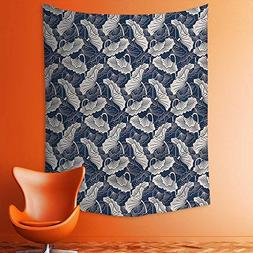 aolankaili Wall Tapestries Drawn Leaves and Flowers Eastern