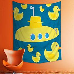 aolankaili Wall Tapestries Duckies Swimming in The Sea with