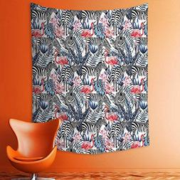 aolankaili Wall Tapestries Flamingos with Zebras Palm Leaves