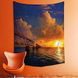 Wall Tapestries Florida Keys Old Bridge Sunset at Bahia Hond