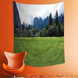 aolankaili Wall Tapestries Lushgreen Meadow in The Yosemite