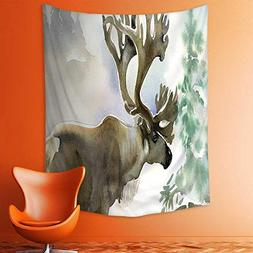 aolankaili Wall Tapestries Moose in Winter Forest Wildlife R