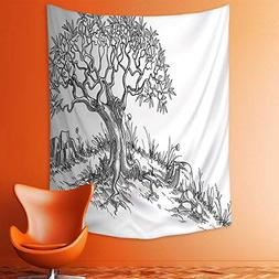 aolankaili Wall Tapestries Olive Tree in Soft Pastel Colors