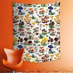 aolankaili Wall Tapestries Pattern with Types of Mushrooms W