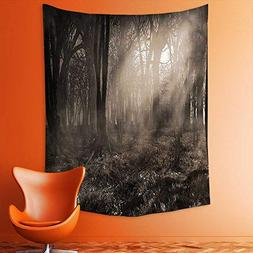 aolankaili Wall Tapestries Photo of Dark Forest Scenery with