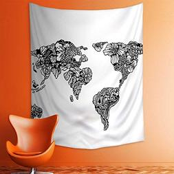 aolankaili Wall Tapestries Sketch Style World Map with Flora