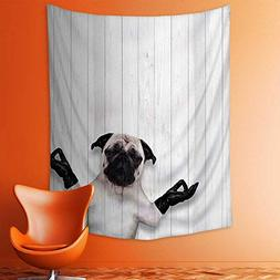 aolankaili Wall Tapestries Spiritual Funny Bulldog with Leat