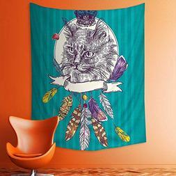 aolankaili Wall Tapestries Theme Hand Drawn Illustration of