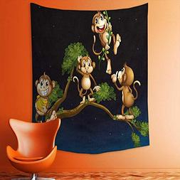 aolankaili Wall Tapestries Theme Illustration of Four Cute M