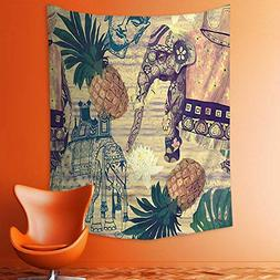 Wall Tapestries Themed Image with Elephants Thailand Sculptu