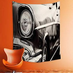 aolankaili Wall Tapestries White Classic American Car with C