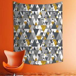 Wall Tapestries Yellow Zig Zag Triangles Futuristic Design w