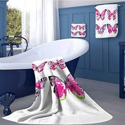 Watercolor Premium Cotton Extra Large Bath Towel Set Set Art