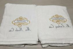 wedding bride and groom towel set personalized