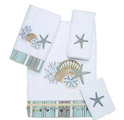 4 Piece White Coastal Embroidered Towel Set With 27 X 50 Inc
