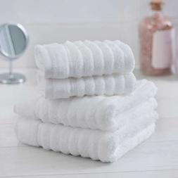 White Dual-sided Cotton Hand Towels and Washcloths Set 4-pie