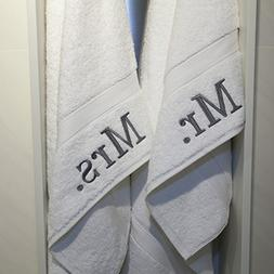 PH 2 Piece White Embroidered Monogrammed Mr. Mrs. 16 X 30 In