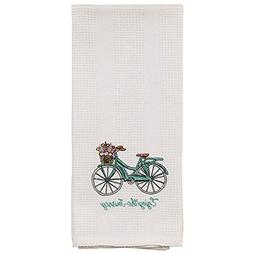 White Enjoy the Journey Teal Bicycle Basket 19 x 28 Inch Emb