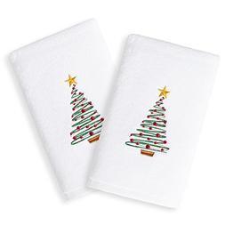 2 Piece White Green Red Holiday Novelty Christmas Tree Embro
