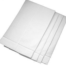 White Linen Hemstitched Tea Towels-Set of 4- Ladder Hem Stit