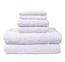 6 Piece White Sculpted Jacquard Towel Set With 30 X 54 Inche