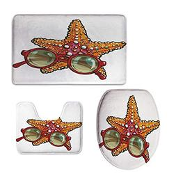 iPrint Widen,Starfish Decor,Hand Drawn Starfish and Round Su
