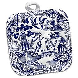 3dRose Willow Pattern Detail in Blue and White Potholder, 8
