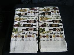 Wine Lovers Themed ~ Set Of 2 ~ Kitchen Dish Hand Towels Clo