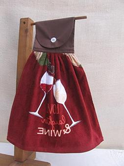 Wine Theme Hanging Kitchen Towel with Brown Cloth Top