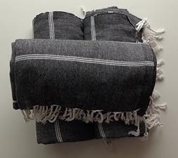Set of 3 XL x Black Peshtemal Turkish Cotton Hand Face Head
