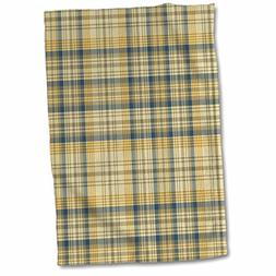 """3dRose Yellow and Gray Large Plaid Pattern Towel, 15"""" x 22"""""""