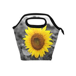 Naanle Yellow Sunflower Insulated Zipper Lunch Bag Cooler To