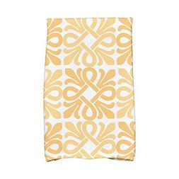 1 Piece Yellow Tiki Square 16 X 25 inch Hand Towel, Gold Geo
