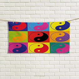 Chaneyhouse Ying Yang,Hand Towel,Pop Art Design Yin Yang Sig