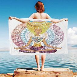 iPrint Yoga Quick Dry Plush Microfiber  Hand-Drawn-Woman-Sit